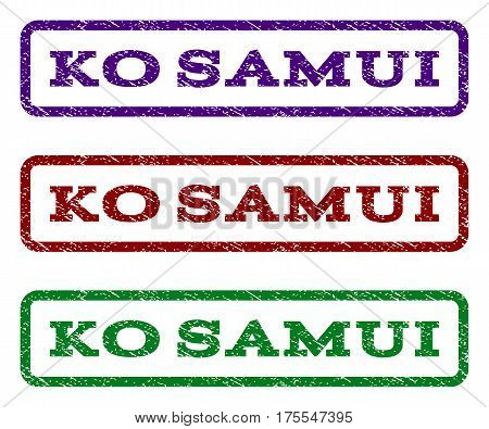 Ko Samui watermark stamp. Text tag inside rounded rectangle frame with grunge design style. Vector variants are indigo blue, red, green ink colors. Rubber seal stamp with dust texture.