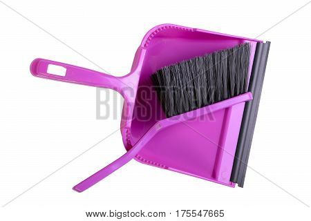 Dustpan and hand brush isolated on white