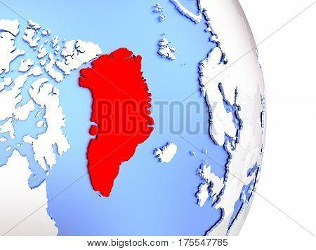 Greenland On Elegant Modern 3D Globe