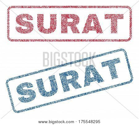 Surat text textile seal stamp watermarks. Blue red fabric vectorized texture. Vector caption inside rounded rectangular banner. Rubber sticker with fiber textile structure.