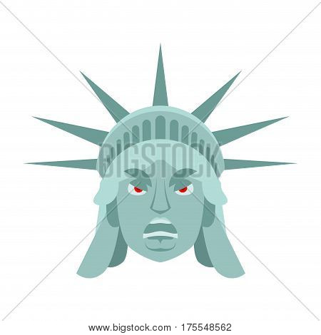 Statue Of Liberty Angry Emoji. Us Landmark Statue Face Aggressive Emotion Isolated