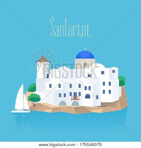 Santorini island vector illustration. Design element with white and blue traditional Santorini houses and church