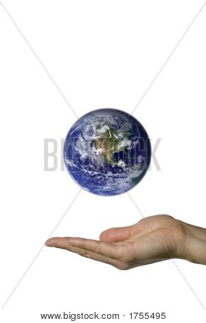 A hand showing the beautifull blue earth poster