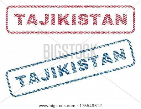 Tajikistan text textile seal stamp watermarks. Blue red fabric vectorized texture. Vector tag inside rounded rectangular banner. Rubber sign with fiber textile structure.