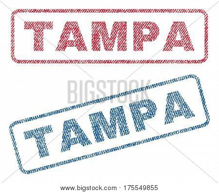 Tampa text textile seal stamp watermarks. Blue red fabric vectorized texture. Vector caption inside rounded rectangular banner. Rubber sticker with fiber textile structure.