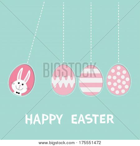 Happy Easter text. Hanging pink painting pattern egg set. Bunny rabbit hare. Dash line. Perpetual motion mobile. Greeting card. Flat design style. Cute decoration element. Vector illustration