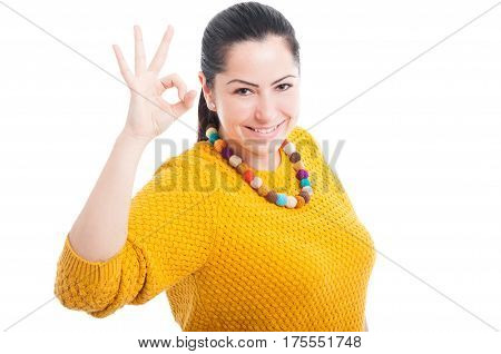 Beautiful Young Woman Showing Okay Gesture