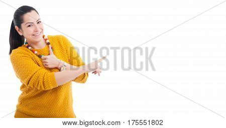 Smiling Woman Pointing Finger On Copy Space