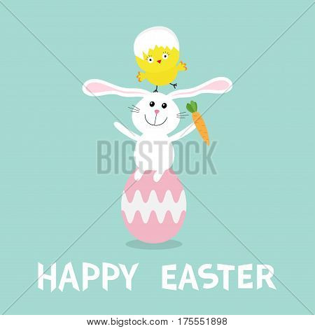 Rabbit baby chick bird friends sitting on painting pink egg shell. Happy Easter bunny Chicken pyramid set. Farm animal. Cute cartoon funny character. Greeting card. Blue background Flat design Vector