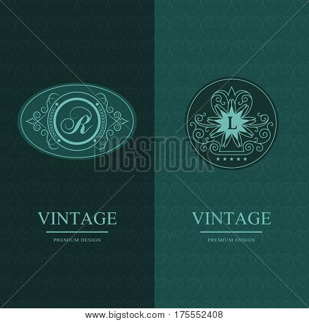 Abstract Monogram graceful template. Seamless pattern background. Calligraphic elegant logo design. Letter emblem sign R L. Fashion universal decorative label. Vector illustration