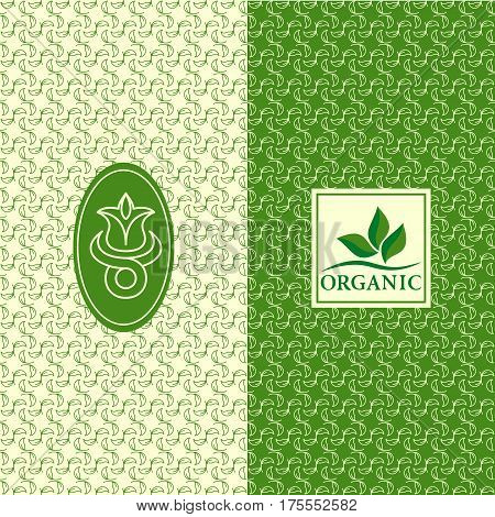 Set of design elements graceful logo template. Seamless pattern background for organic healthy food packaging. Green labels and organic emblems for products shops websites. Vector illustration