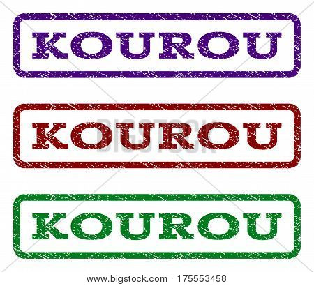 Kourou watermark stamp. Text tag inside rounded rectangle with grunge design style. Vector variants are indigo blue, red, green ink colors. Rubber seal stamp with scratched texture.