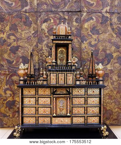 ZAGREB, CROATIA - FEBRUARY 17: Commode from the end of the 18th century, walnut veneer, marquetry, gilded bronze, exhibited in Museum of Arts and Crafts, Zagreb, on February 17, 2015.