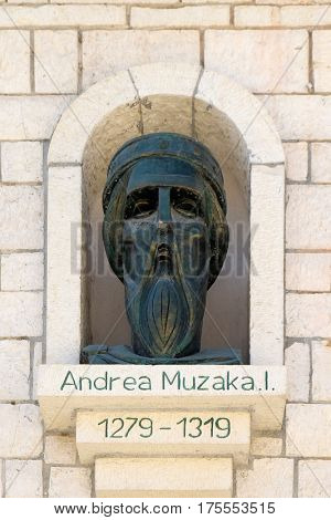 BERAT, ALBANIA - OCTOBER 01, 2016: Memorial of Andrea I Muzaki Lordship of Berat in Old town Berat, Albania on October 01, 2016.