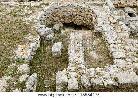Fasano Italy - 22 June 2016: The Kiln of the ancient Roman ruins in Egnazia Italy.