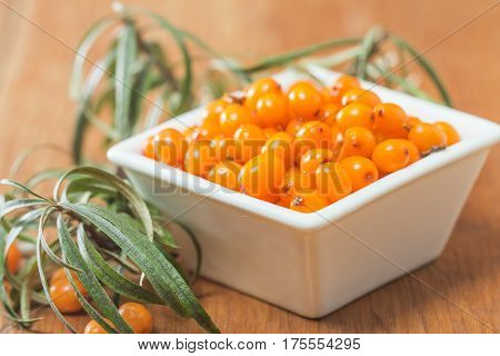 Sea-buckthorn berries in white bowl on a wooden background