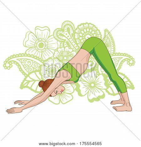 Women silhouette. Adho mukha svanasana. Downward dog. Vector illustration