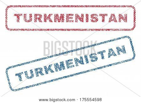 Turkmenistan text textile seal stamp watermarks. Blue, red fabric vectorized texture. Vector tag inside rounded rectangular shape. Rubber sign with fiber textile structure.