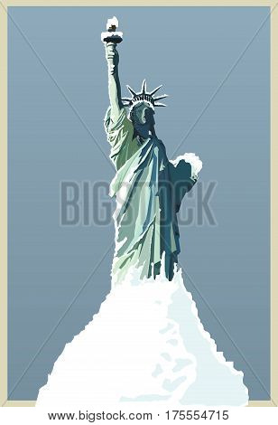 vector hand drawing ew york under snow