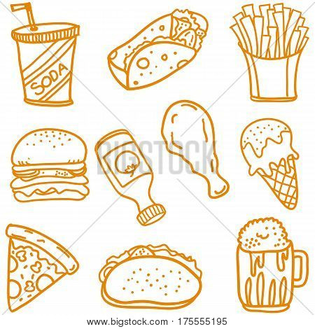 Fast food doodle set vector art collection stock