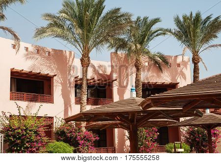 Building Area And The Hotel's Palm Trees In Hurghada. Egypt.