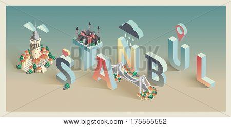 3d isometric typographic istanbul landmarks postcard design