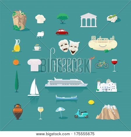 Set of icons with Greek landmarks in vector. Ancient ruins Athens acropolis Santorini island Greek chese symbols for visit Greece collection