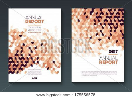 Vector annual report templates, abstract geometric background, abstract shapes on vertical format