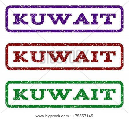 Kuwait watermark stamp. Text tag inside rounded rectangle with grunge design style. Vector variants are indigo blue, red, green ink colors. Rubber seal stamp with unclean texture.
