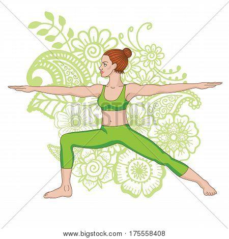 Women silhouette on paisley mehndi ormanent background. Warrior 2 yoga pose. Virabhadrasana 2 Vector illustration