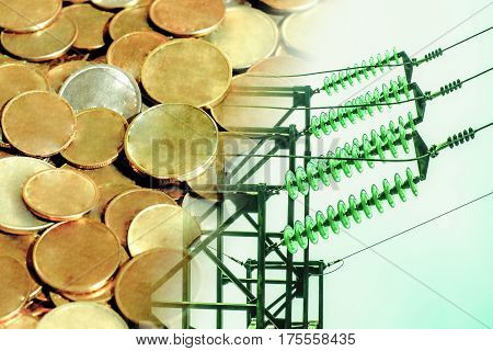 Electric and wires on a background of money . The concept of raising electricity tariffs