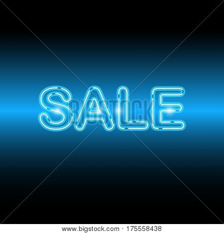 Neon icon Sale Vector illustration Blue bright neon lamp with the inscription Sale on blue gradient background Realistic style