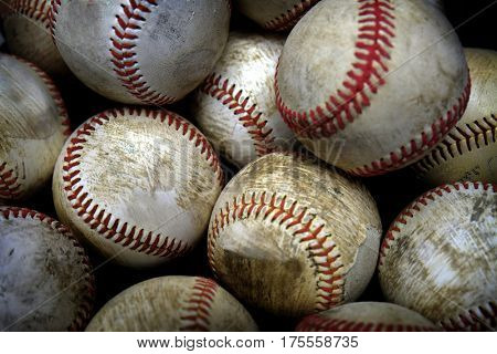 Stack or pile of baseballs balls for playing games