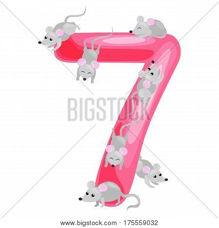Set of ordinal numbers for teaching children counting with the ability to calculate amount of animals, suitable for abc alphabet kindergarten books or elementary school posters collection vector illustration