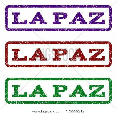 La Paz watermark stamp. Text tag inside rounded rectangle with grunge design style. Vector variants are indigo blue, red, green ink colors. Rubber seal stamp with dirty texture.