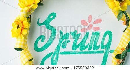 Spring Word Spelling By Hand Lettering And Flower Wreath Band