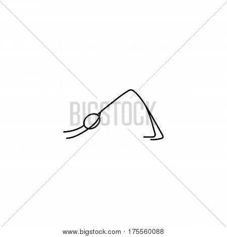 Cartoon icon of sketch little vector stick figures doing yoga