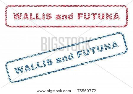 Wallis and Futuna text textile seal stamp watermarks. Blue, red fabric vectorized texture. Vector tag inside rounded rectangular banner. Rubber sign with fiber textile structure.