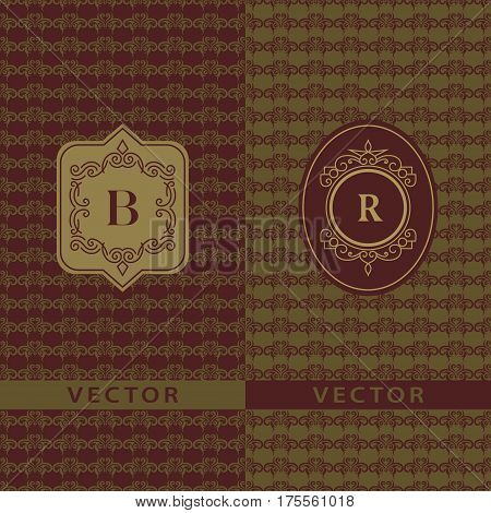 Abstract Monogram graceful template. Seamless pattern background. Calligraphic elegant logo design. Letter emblem sign B R. Fashion universal decorative label. Vector illustration