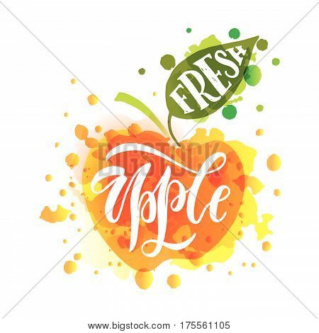 Hand Sketched Fresh Apple Lettering Typography. Farmers Market/organic Food/natural Product/juice/pi