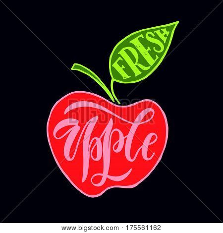Hand sketched fresh apple lettering typography. Farmers market/organic food/natural product/juice/pie/jam concept. Fresh apple design style. Apple logotype/badge/icon. Apple logo/banner/tag template
