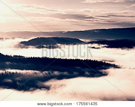 Autumn Sunrise Above Above Forest, Fall Misty Valley