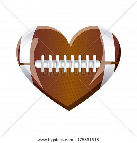 white background of heart with texture of football ball vector illustration