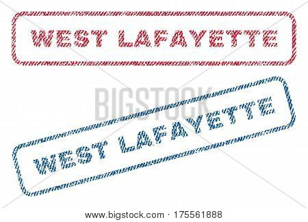 West Lafayette text textile seal stamp watermarks. Blue, red fabric vectorized texture. Vector caption inside rounded rectangular banner. Rubber sticker with fiber textile structure.