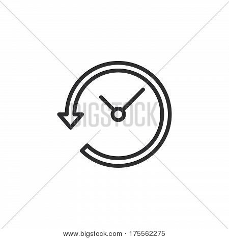 Clock with arrow around line icon outline vector sign linear style pictogram isolated on white. History symbol logo illustration. Editable stroke. Pixel perfect