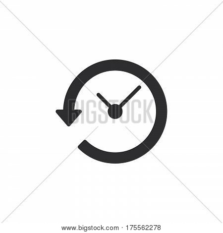 Clock with arrow around icon vector filled flat sign solid pictogram isolated on white. History symbol logo illustration. Pixel perfect