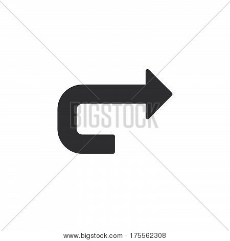 Forward arrow icon vector filled flat sign solid pictogram isolated on white. Redo symbol logo illustration. Pixel perfect