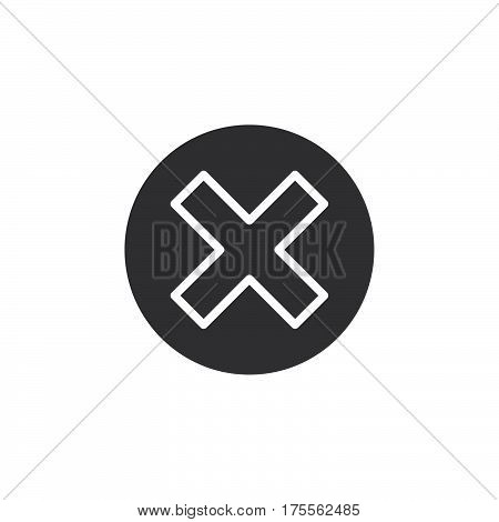 Cross in circle icon vector filled flat sign solid pictogram isolated on white. Delete remove symbol logo illustration. Pixel perfect