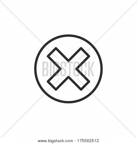 Cross in circle line icon outline vector sign linear style pictogram isolated on white. Delete remove symbol logo illustration. Editable stroke. Pixel perfect
