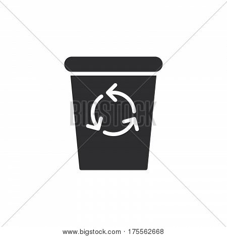 Recycle Bin icon vector filled flat sign solid pictogram isolated on white. Delete symbol logo illustration. Pixel perfect